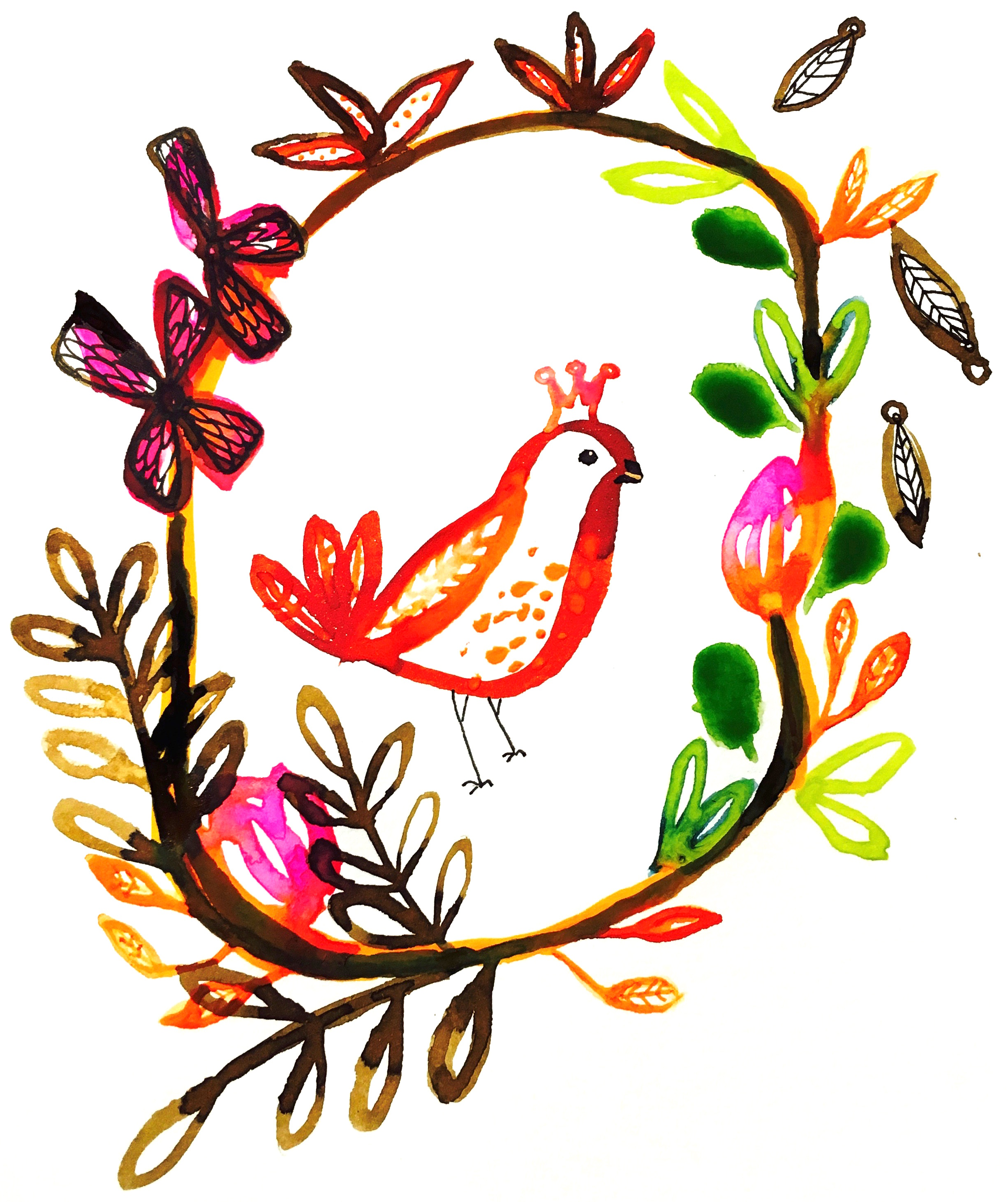 Autumn bird wreath